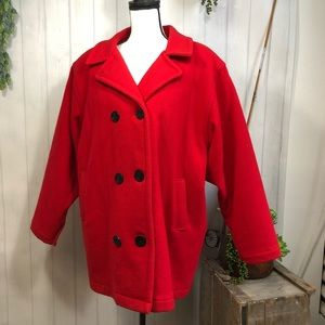 Woolrich Iconic Red Wool Peacoat, Insulated XL